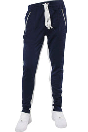 Zip Pocket Dual Stripe Track Pants Navy - White (M4386PS)