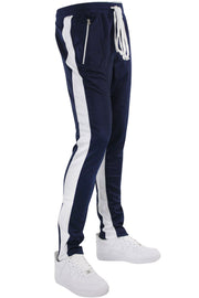 Zip Pocket Dual Stripe Track Pants Navy - White (M4386PS) - Zamage