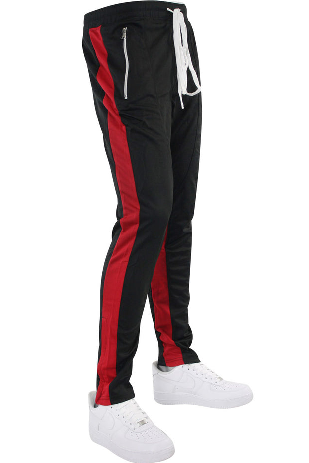 Zip Pocket Dual Stripe Track Pants Black - Red (M4386PS) - Zamage