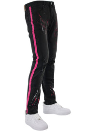 Side Stripe Paint Splatter Skinny Fit Denim Black - Pink (M4825D) - Zamage