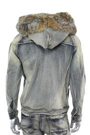 Jordan Craig Fur Denim Jacket Bison (91412 22S)