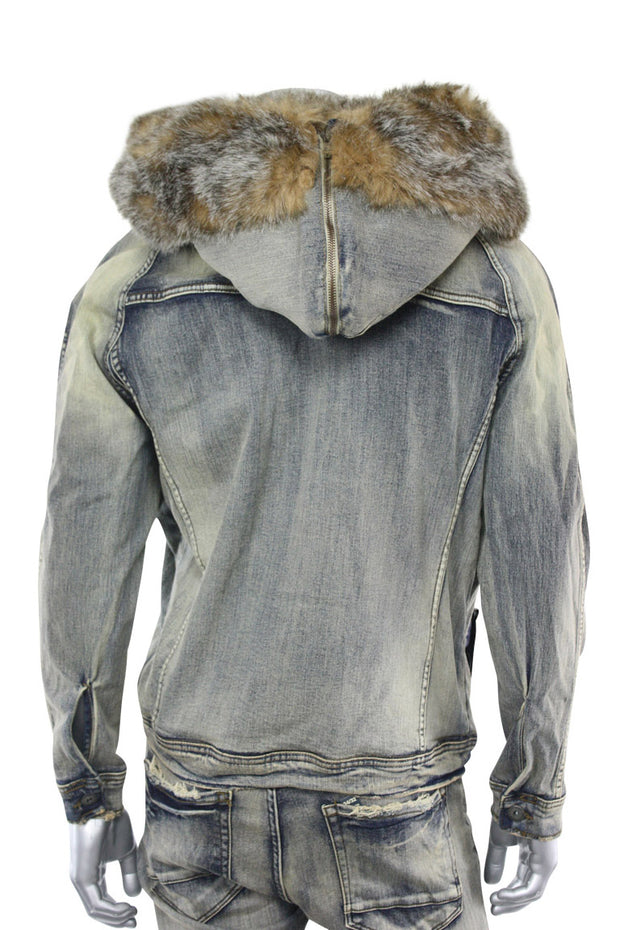 Jordan Craig Fur Denim Jacket Bison (91412 22S) - Zamage