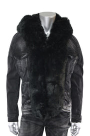 Jordan Craig Fur Denim Jacket Black (91412 22S) - Zamage