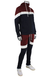 Jordan Craig Color Block Fleece Hoodie Navy - Burgundy (8326H 22S) - Zamage