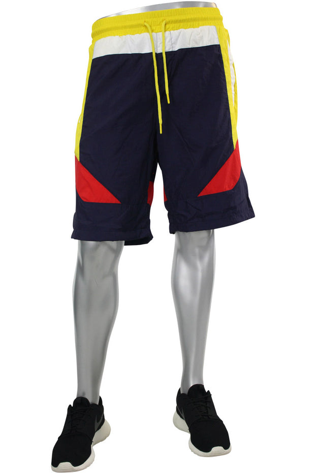 Color Block Nylon Shorts Navy - Yellow (JS9101) - Zamage