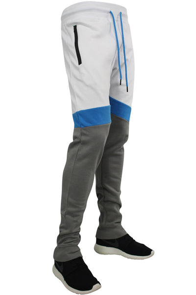Jordan Craig Color Block Fleece Jogger White - Blue - Grey (8326 22S) - Zamage