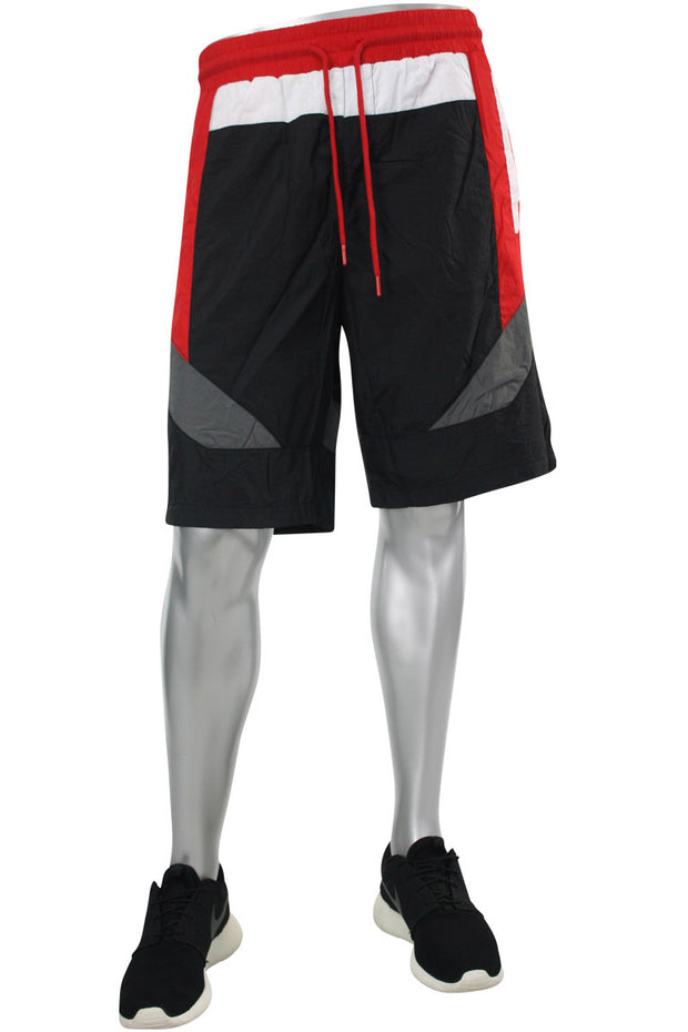 Color Block Nylon Shorts Black - Red (JS9101) - Zamage