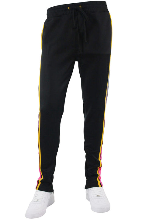 Side Stripe Dip Dye Track Pants Black - Yellow (1A1-404) - Zamage