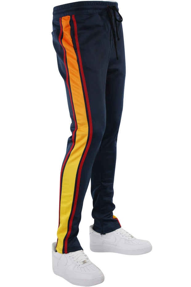 Side Stripe Dip Dye Track Pants Navy (1A1-404) - Zamage