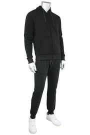 Basic Fleece Full-Zip Hoodie Black (1531) - Zamage