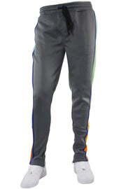 Side Stripe Dip Dye Track Pants Dark Grey (1A1-404) - Zamage