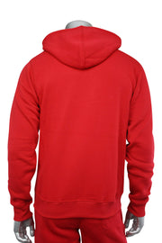 Basic Fleece Full-Zip Hoodie Red (1531) - Zamage