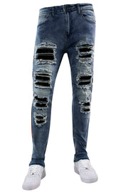 Side Tape Rhinestone Patch Skinny Fit Denim Blue Wash (M4963R1D) - Zamage