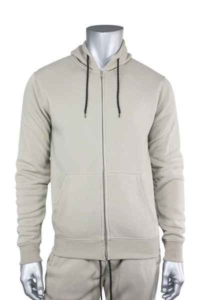 Basic Fleece Full-Zip Hoodie Light Beige (1531) - Zamage
