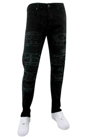 Side Tape Rhinestone Patch Skinny Fit Denim Jet Black (M4963R1D) - Zamage