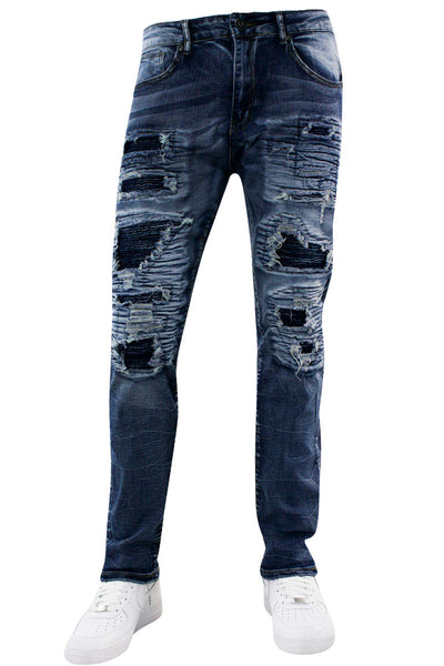 Moto Skinny Fit Denim Blue Wash (M5068D) - Zamage