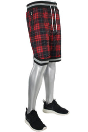 Plaid Mesh Shorts Red (191-922)