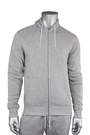 Basic Fleece Full-Zip Hoodie Heather Grey (1531) - Zamage