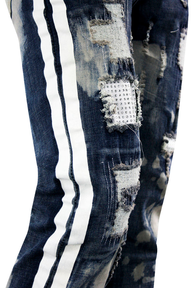 Ripped Skinny Fit Denim Blue Pink Wash (M5049D) - Zamage