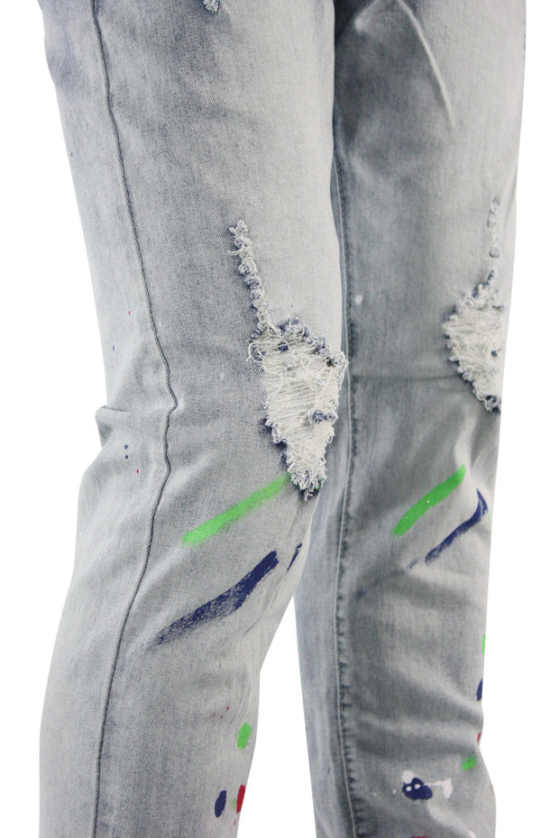 Paint Splatter Skinny Fit Denim Blue Brush Wash (M4770D) - Zamage