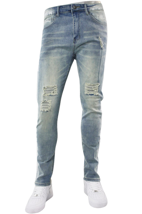 Destroyed & Faded Skinny Fit Track Denim Light Vintage (M4849D) - Zamage