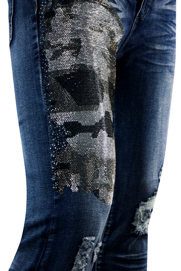 Skull Print Skinny Fit Denim Blue Wash (M5017D) - Zamage
