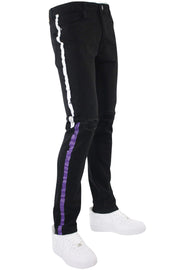 Painted Side Stripe Denim Track Pants Black - White - Purple (M4695D) - Zamage