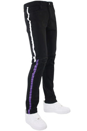 Painted Side Stripe Denim Track Pants Black - White - Purple (M4695D 22S) - Zamage
