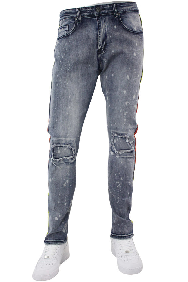 Dip Dye Skinny Fit Track Denim Bleach Splatter - Orange (M4818D) - Zamage