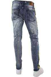Dip Dye Skinny Fit Track Denim Bleach Splatter - Blue (M4818D) - Zamage