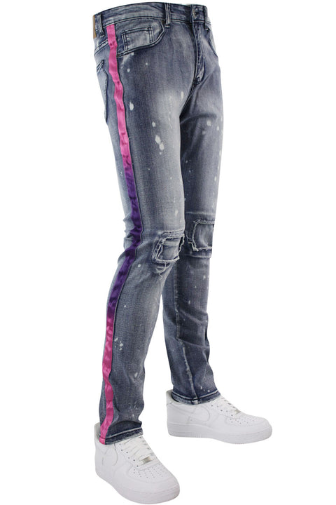 Dip Dye Skinny Fit Track Denim Bleach Splatter - Purple (M4818D) - Zamage