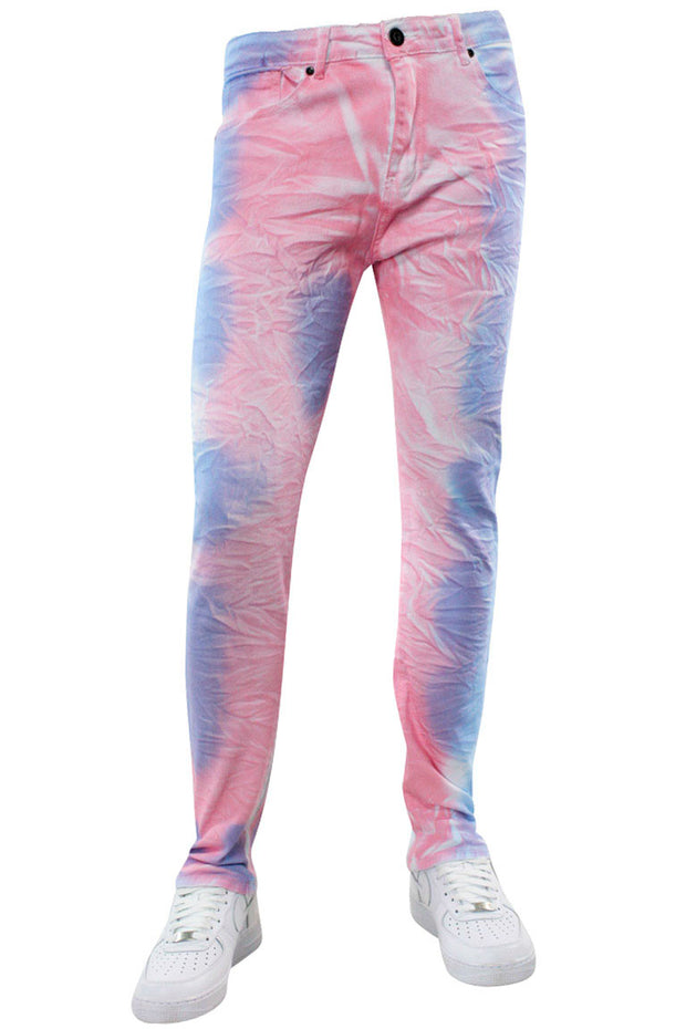 Moto Skinny Fit Denim White-Blue-Pink (M5140D) - Zamage