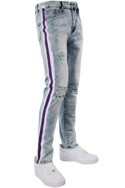 Side Paint Stripe Athletic Track Denim Snow Purple (M4700D) - Zamage