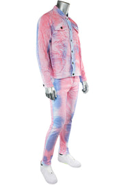 Moto Denim Jacket White-Blue-Pink (M6189D) - Zamage
