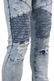 Ripped Moto Skinny Fit Denim Marble Wash (M4612D)