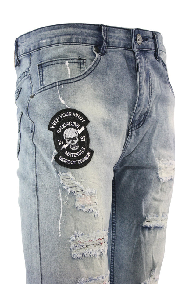 Skull Patch Skinny Fit Denim Light Wash (M4838D) - Zamage