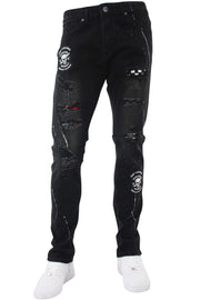 Skull Patch Skinny Fit Denim Black Wash (M4838D) - Zamage