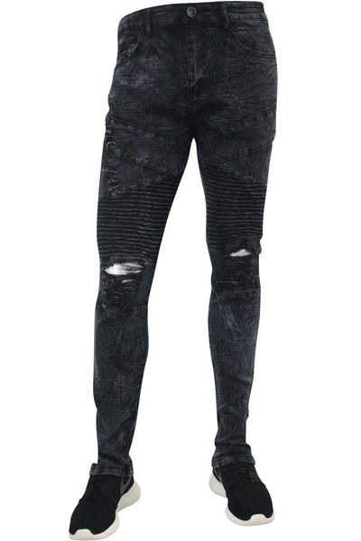 Ripped Moto Skinny Fit Denim Black Marble Wash (M4612D)