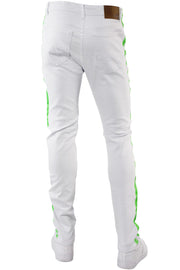 Side Stripe Knee Slit Skinny Fit Denim White - Green (M4701T) - Zamage