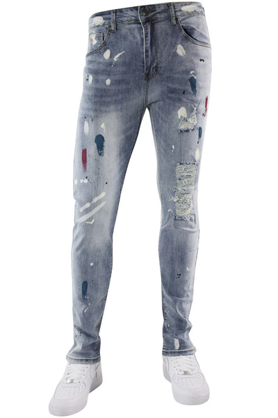 Brushed Rhinestone Skinny Fit Denim Blue Wash (M4837D) - Zamage