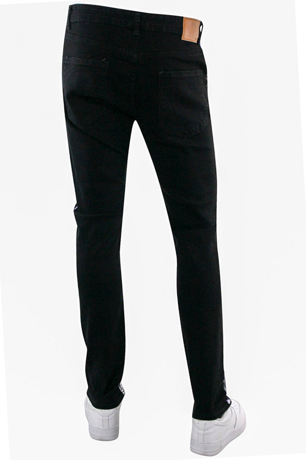 Moto Skinny Fit Denim Black - Purple (M5059D) - Zamage