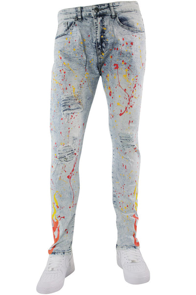 Flame Print Skinny Fit Denim Snow Wash (M4794D) - Zamage