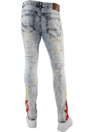 Flame Print Skinny Fit Denim Snow Wash (M4794D)