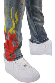 Flame Print Skinny Fit Denim Light Wash (M4794D) - Zamage