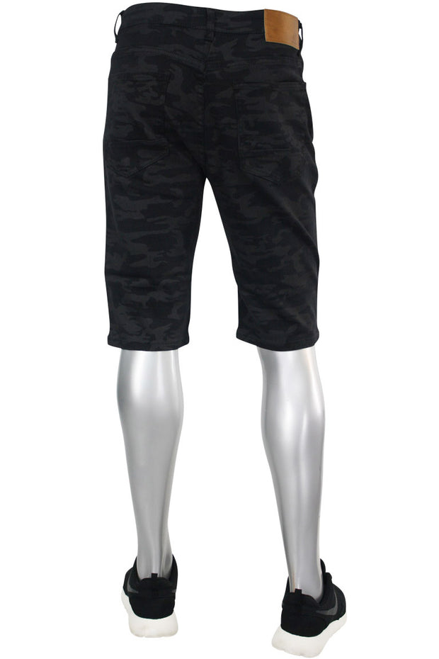 Denim Shorts Black Camo (M7160T) - Zamage