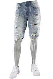 Jordan Craig Shredded Denim Shorts Ice Blue (J3153S 22S) - Zamage