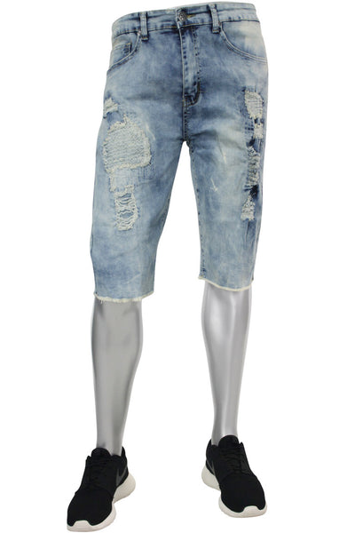 Ripped & Destroyed Shorts Medium Blue Bleach (M7125D)