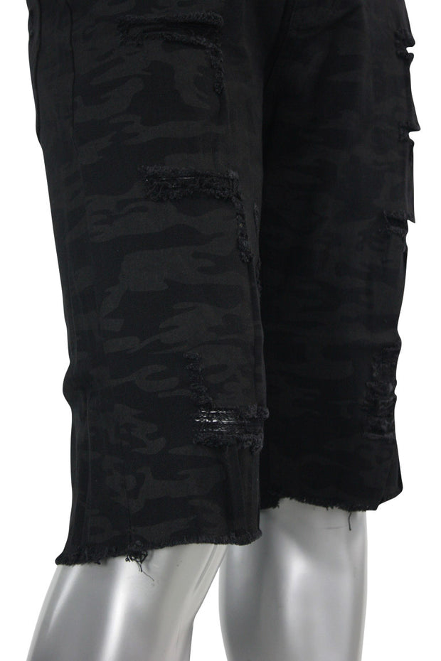 Denim Shorts Black Camo (M7163T) - Zamage