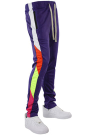 Zip Pocket Side Stripe Multi Color Track Pants Purple (MS-20722) - Zamage