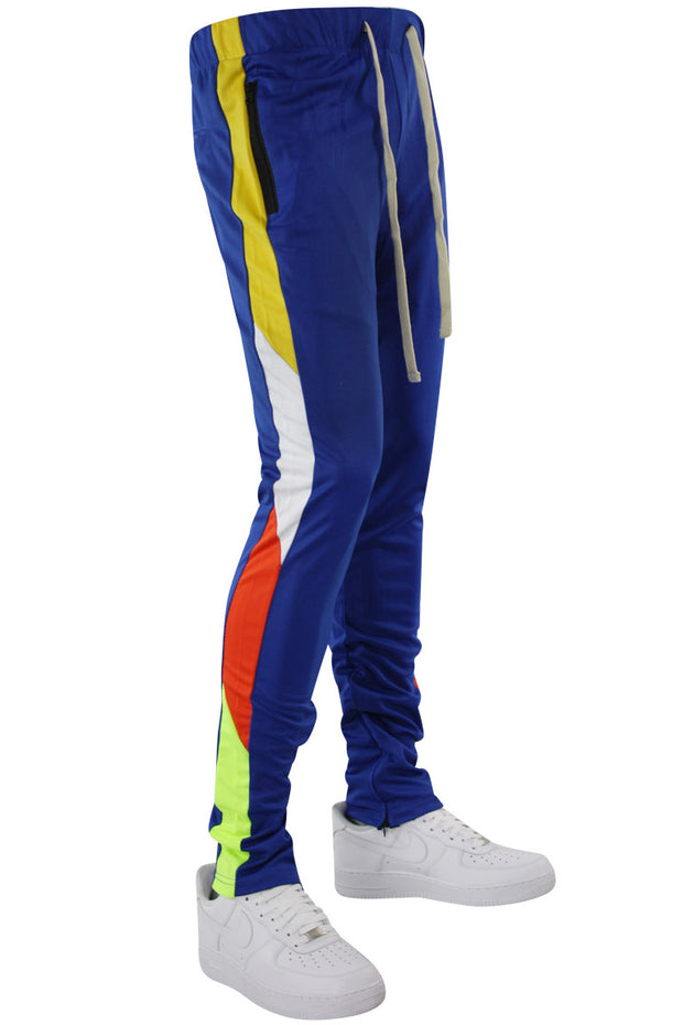 Zip Pocket Side Stripe Multi Color Track Pants Royal (MS-20722) - Zamage